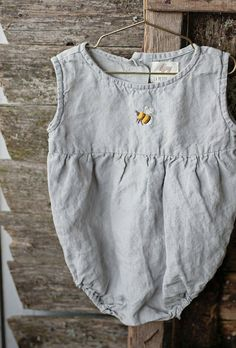 Unisex Linen Baby Romper With Hand Embroidery | Lapetitealice on Etsy
