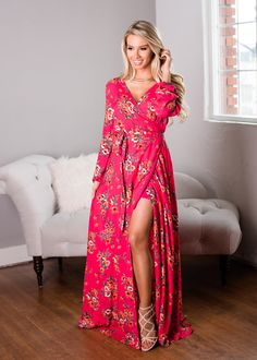 Beautiful Tie Floral Maxi Dress Fuchsia - Modern Vintage Boutique