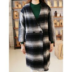 Fashionable Color Block Loose-Fitting Long Sleeve Women's Thicken Coat