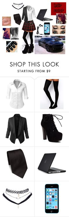 """Nikki~ student"" by satandaughter ❤ liked on Polyvore featuring LE3NO, ASOS, Ermenegildo Zegna, Speck and Wet Seal"