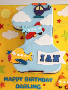 Birthday Sculpted Numeral One Flight Themed Cake Planes Birthday Cake, Number Birthday Cakes, Baby Birthday Cakes, 1st Birthday Cakes, 1st Boy Birthday, Birthday Ideas, Number One Cake, Number Cakes, Harry Birthday