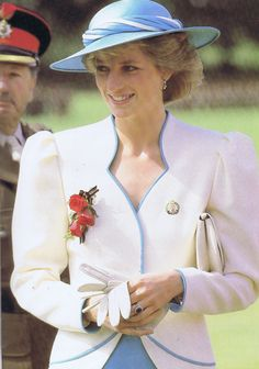 August 1st 1986 Princess Diana visiting the Royal Hampshire Regiment where she was to present them with their new colours as their Colonel-In-Chief.