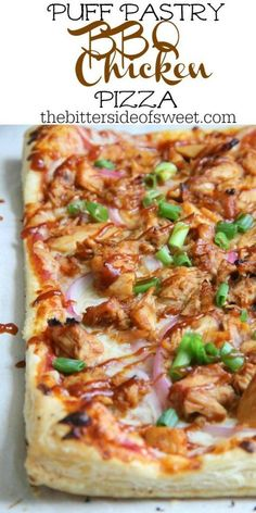 Puff Pastry BBQ Chicken Pizza will make parents and kids happy! It's an easy wee… Puff Pastry BBQ Chicken Pizza will make parents and kids happy! It's an easy weeknight dinner that everyone will go crazy for! Puff Pastry Chicken, Puff Pastry Pizza, Chicken Puffs, Puff Pastry Recipes, Pizza Recipes, Easy Dinner Recipes, Chicken Recipes, Cooking Recipes, Healthy Recipes