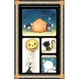 Charmed Halloween Mice, Cat, Ghost 22x44 Large Cotton Fabric Panel