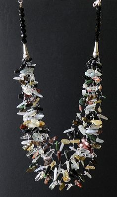 Multistone Necklace with Blue Lace Agate, Citrine, Aquamarine, Zoisite, Blister cultured Freshwater Pearls and others.