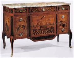 "Decorative Crafts .com | chest #1446 | Five drawer chest inlaid with rosewood and many other woods in a French 18th-century design with antiqued brass hardware and Macchiavecchia marble top. The chest is an exact copy of an original designed for Marie Antoinette. Made in Italy; 54"" w. x 22¼"" d. x 36¾"" h."