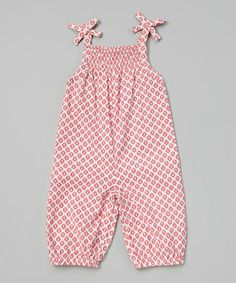Look what I found on #zulily! Red Floral Frill Romper - Infant by Rim Zim Kids #zulilyfinds