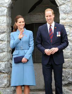 10 April 2014 - Day 4  Prince William and Catherine, Duchess of Cambridge  attended a wreath-laying and commemoration service in Blenheim