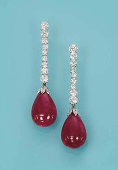 A PAIR OF RUBELLITE TOURMALINE AND DIAMOND EAR PENDANTS