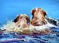 Golden Retriever Paintings - Two Labs One Wake by Molly Poole