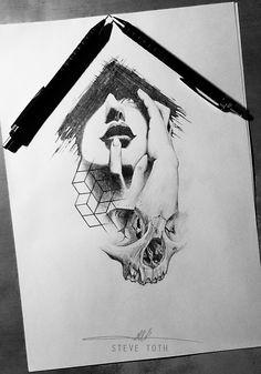 skull and head tattoo design