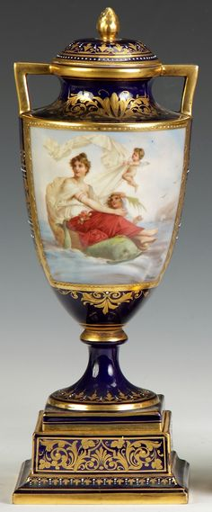 Royal Vienna Porcelain Covered Urn, Hand Painted Decoration Depicting Classical Figures circa 1850-1900