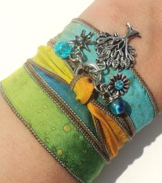 Tree of Life Silk Wrap Bracelet Yoga by BohemianEarthDesigns, $24.95
