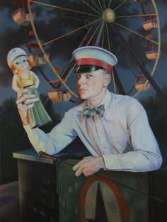 Jared Joslin - Carny Self Portrait, 2009.  Oil on canvas