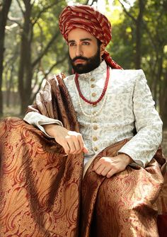 Latest Wedding Sherwani Designs By Amir Adnan - PK Vogue Sherwani For Men Wedding, Wedding Dresses Men Indian, Groom Wedding Dress, Sherwani Groom, Mens Sherwani, Indian Wedding Couple, Pakistani Wedding Outfits, Wedding Dress Trends, Wedding Men
