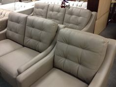 Taupe Leather Sofa Set - Includes 3 seat sofa, love seat and chair.  Entire set is $1900.00    - http://takeitorleaveit.co/2014/02/01/taupe-leather-sofa-set/