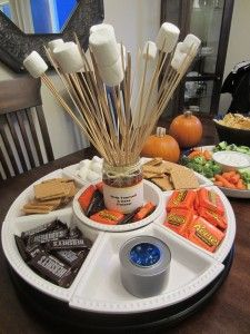 Indoor Smore Party.  @Norma Johnson Johnson Roberts; Hey look, they used Reese's! Chocolate, peanut butter, and marshmellows, YUM!