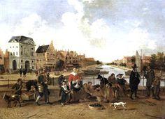 Leiden, Groenmarkt met gezicht op de Stille Rijn door Hendrik van der Burgh, ca. 1627