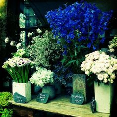 calla lilies, delphiniums, and roses by the curious bumblebee