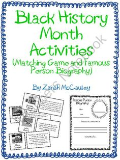 Black History Month Activities from ZanahMcCauley on TeachersNotebook.com -  (7 pages)  - Black History Month Activity Packet
