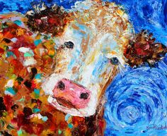 Original oil painting Cow Portrait Whimsical farm animal by Karensfineart