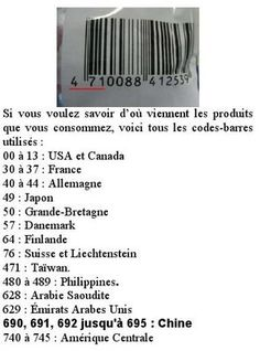 Because we do not always find the provenance on what we want to buy, but that there is always a barcode. Source: The OCA Gazette (the lab where I work) that they do not cite source. Code Barre, Tips & Tricks, Things To Know, Good To Know, Helpful Hints, Fun Facts, Knowledge, Coding, Nutrition