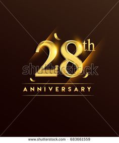 28th anniversary glowing logotype with confetti golden colored isolated on dark background, vector design for greeting card and invitation card.