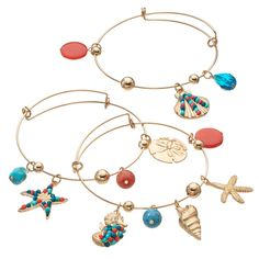 Adorned with vibrant under-the-sea charms, this bangle bracelet set is sure to make a splash. Bangle Bracelets With Charms, Bracelet Set, Bangles, Starfish, Sea Shells, Charmed, Vibrant, How To Make, Jewelry