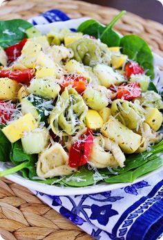 Mother's Day Dinner - Tortellini Spinach Salad, Cheesy Chicken Taquitos, and Mexican Rice and Fruit Filled Puff Pastry Donuts. Summer Recipes, Great Recipes, Dinner Recipes, Favorite Recipes, Easy Recipes, Soup And Salad, Pasta Salad, Crab Salad, Cooking Recipes