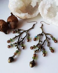 Acorn Fairy earrings Acorn and Branch earrings by SilvarisRose#jewelry #want