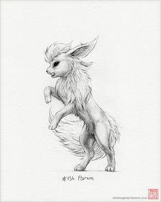 Flareon Drucken 8 x 10Pokemon Zeichnung Kunst