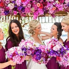 this would pop on the black dresses the braidesmaids would wear:)  What do you think of this Radiant Orchid wedding?