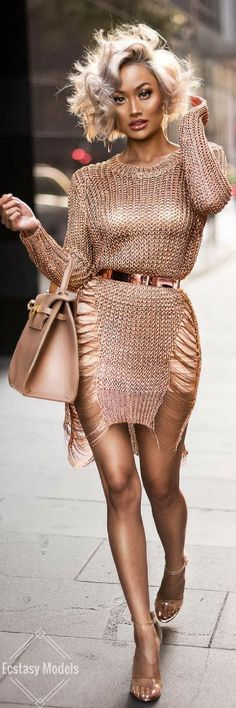 Sweater dress, slip heels from Hot Miami Styles // Fashion Look by Micah Gianneli News Fashion, Look Fashion, High Fashion, Womens Fashion, Fashion Trends, Fashion Heels, Fashion Wear, Fashion Pants, Korean Fashion
