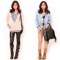 Which #plaid #outfit would you wear?♥#stylesforless I like the one on the left for spring and I would wear it too!