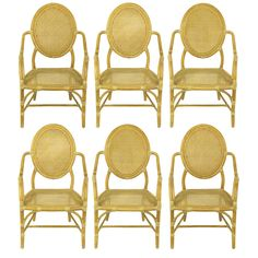1stdibs   Set Six McGuire Rattan & Cane Louis XVI Inspired Dining Chairs.
