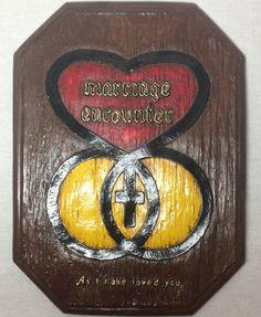 $13.99 FREE SHIPPING Vintage Wall Hanging Ceramic Romantic Spiritual Plaque Marriage Encounter
