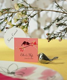 Love Bird Brushed Silver Place Card Holders (Set of 8) from Wedding Favors Unlimited
