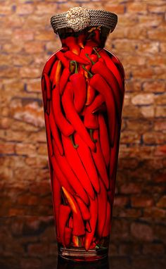 Tuscan Art by Sarabella featuring hand painted red chili peppers in a decorative glass jar; shop here for unique decor for your home, restaurant or hotel. Red Chili Peppers, Red Chilli, Chilis, Chile Picante, Tuscan Art, Pepper Spice, Hottest Chili Pepper, Some Like It Hot, Simply Red