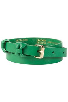 Green Double Bow Keeper Leather Belt
