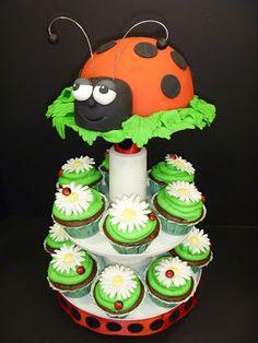 Late Summer Ladybug Cake and Cupcakes