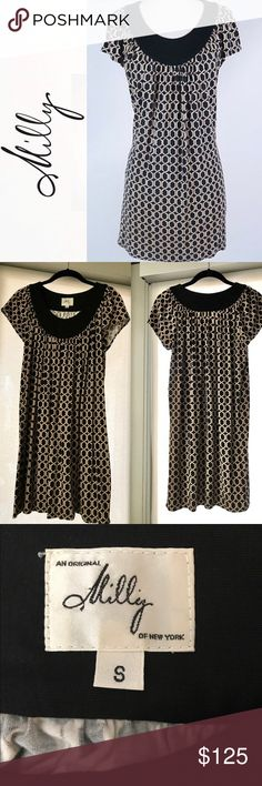 Milly of New York Shift Dress. Black/Tan, Small Excellent Condition! Milly of New York Classic Shift Dress. Worn a couple of times. Black and Cream color w/Geometrical design. Size Small or 2-4.  Like New. Milly Dresses