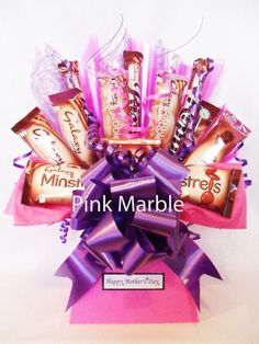 We designed this chocolate bouquet for the Galaxy girls at heart. We pictured ladies having five minutes peace, maybe reading a book or magazine with a special little treat from their chocolate bouquet. Whether it be the heavenly Ripple or the melt in your mouth smooth bars, this is the something a little bit different for the Galaxy girls at heart.    Ideal for Anniversary's, Birthdays, Girlie Nights-In, Valentines, Thank you's, Easter......or for any occasion!