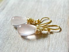Rose Quartz Earrings with petite Fresh Water Pearls and 14k Gold at The North Way Studio.