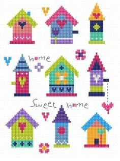 """Pretty Birdhouses(CSKGS144)  New 'Home Sweet Home' sampler cross stitch kit designed by The Stitching Shed. Simple design so maybe suitable for beginners depending on their ability.  Contents: 14 count aida fabric, anchor threads, chart and full instructions.  Size: 5.5"""" x 8"""".  *Usually dispatched within 5 working days*"""
