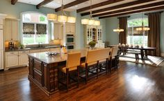 Sherwin Williams Watery is a pretty blue hue, working well with dark and white woodwork.