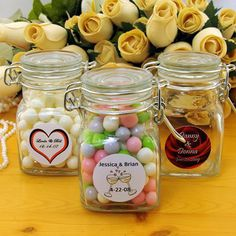 Personalized Apothecary Jar Wedding Favors...fill with wedding color candies.