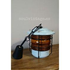 Antigua lámpara farol de los años 30' - 40' www.soulvintage.es