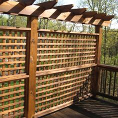 Backyard Decoration Ideas for Transform Your Backyard with A Quality Wood Pergola or Arbor 6385 Privacy Wall On Deck, Garden Privacy, Outdoor Privacy, Backyard Privacy, Backyard Patio, Privacy Screens, Wood Privacy Fence, Outdoor Pergola, Trellis Design