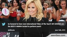 June 16th, 2013: Demi Lovato has made a huge buzz last night after winning the award for the International Video of the Year at the MuchMusic Video Awards 2013, with more than 14000 retweets from her fans in Canada - #Seevibes #TopRetweet #Twitter #MMVA - https://twitter.com/ddlovato/status/346440358638518272