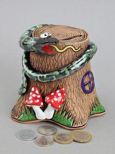 Ceramic Snake Bank Money Box Birthday Gift Baptism by Molinukas Baptism Presents, Money Box, Funny Gifts, Snake, Birthday Gifts, Captain Hat, Coins, Christmas Gifts, Childhood